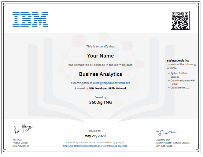 business analytics ibm certification course