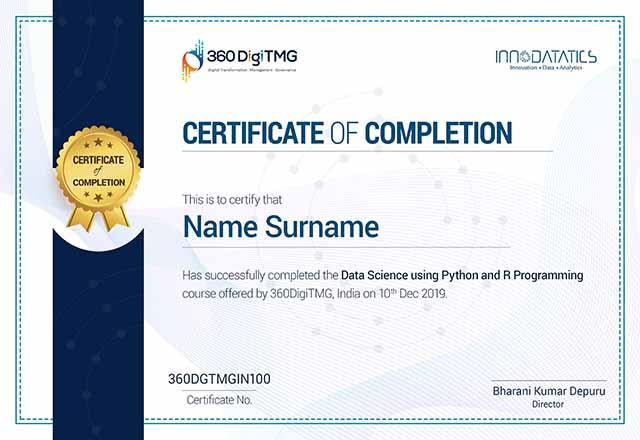 data science using python & r certification - 360digitmg